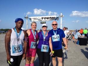 Left to right, David Lacy, Christina Kadinger, me, and my husband, Tim