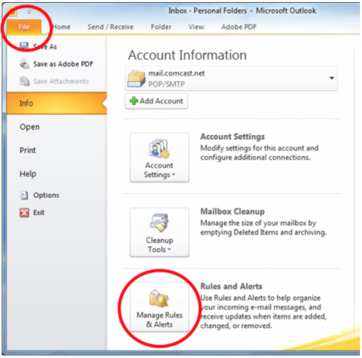 how to create a new rule in outlook mial