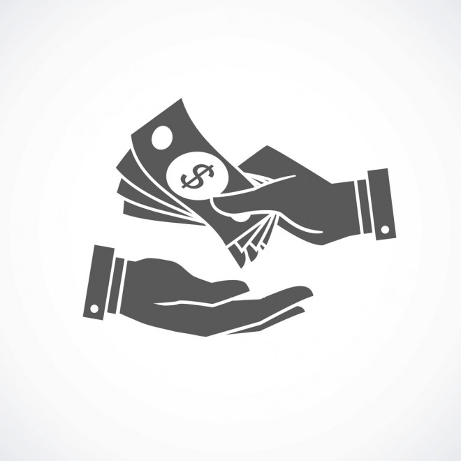 Receiving money banknotes stack icon. Vector illustration
